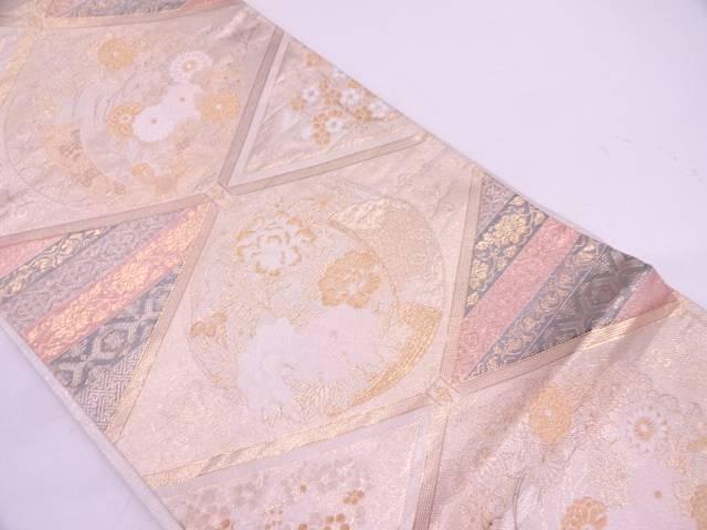 菱に束ね熨斗・草花模様織出し袋帯【リサイクル】【中古】