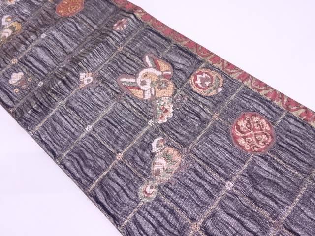 本金箔格子に花鳥模様織出し袋帯【リサイクル】【中古】