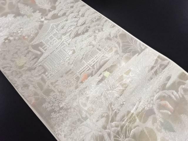 二重引箔金閣寺模様織り出し袋帯【リサイクル】【中古】