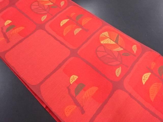 格子に樹木模様織り出し洒落袋帯【リサイクル】【中古】