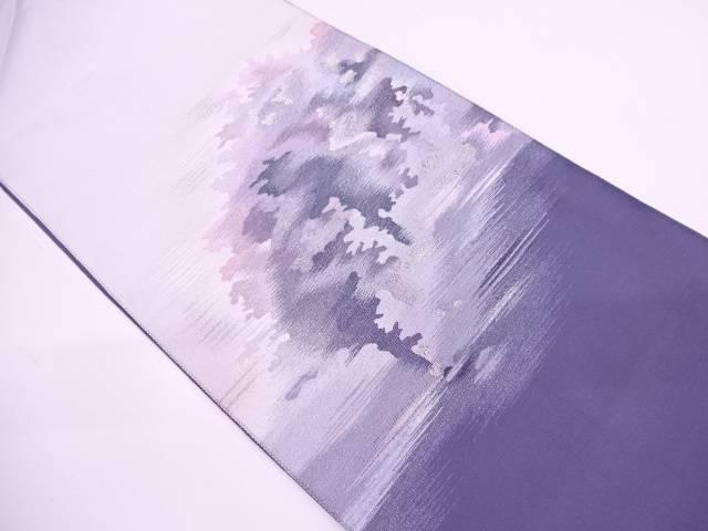 本綴れ樹木模様織出し開き名古屋帯【リサイクル】【中古】