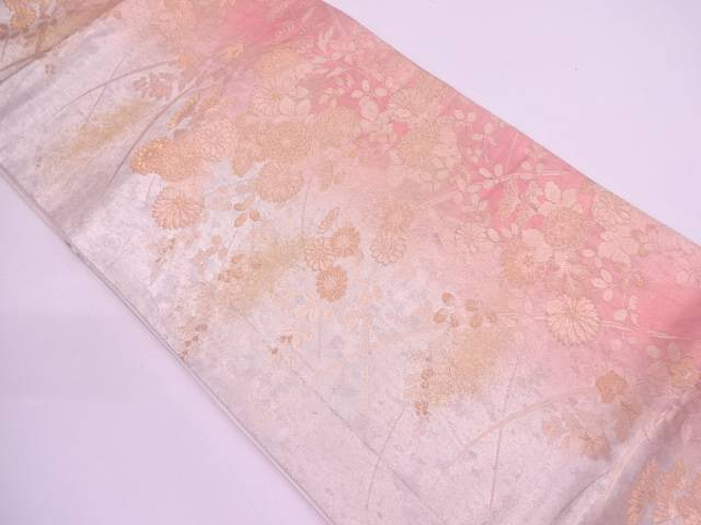 引き箔草花模様織出し袋帯【リサイクル】【中古】