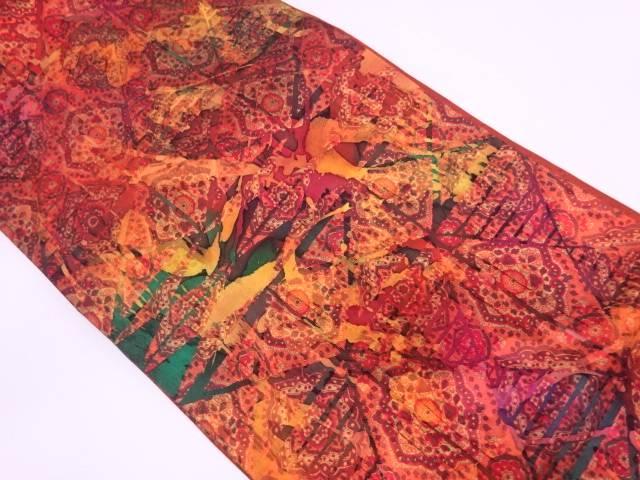 纐纈草花に抽象模様全通袋帯【リサイクル】【中古】