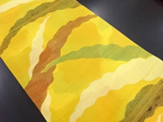 手織り紬抽象模様織り出し名古屋帯【リサイクル】【中古】
