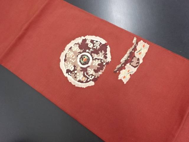 綴れ割れ鏡裏に抽象花模様織り出し袋帯【リサイクル】【中古】