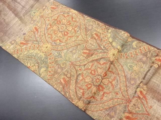 手織り紬華紋更紗模様織り出し袋帯【リサイクル】【中古】