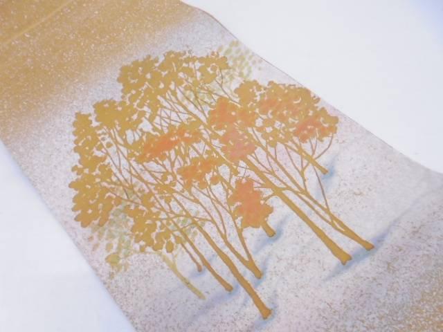 未使用品 作家物 樹木模様袋帯【リサイクル】【中古】