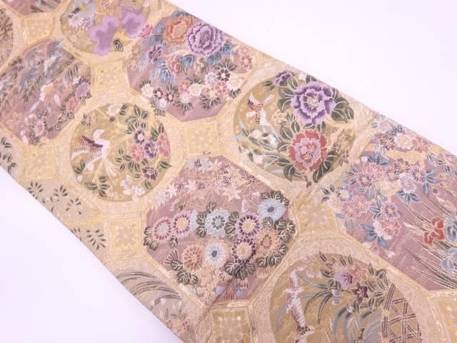 天井花之宴文様織出し袋帯【リサイクル】【中古】