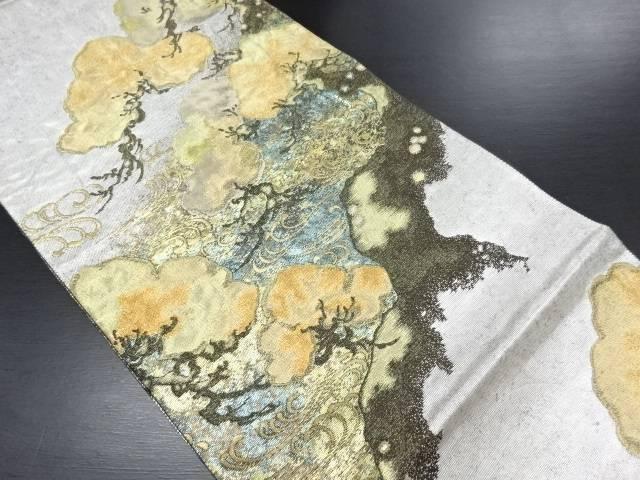 銀彩寿松流水文織り出し袋帯【リサイクル】【中古】