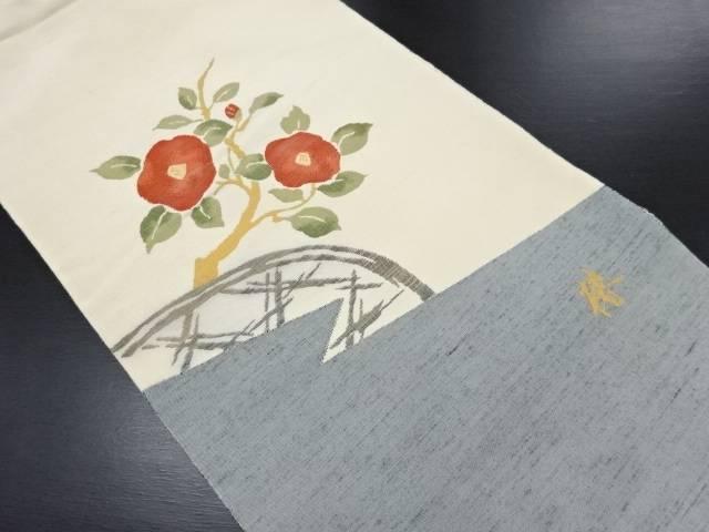 草木染米沢紬椿模様織り出し袋帯【リサイクル】【中古】