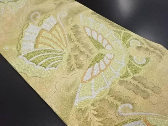 砂子綴れ松藤に蝶模様織り出し袋帯【リサイクル】【中古】