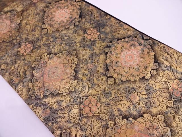 服部織物製 草花模様織出し袋帯【リサイクル】【中古】
