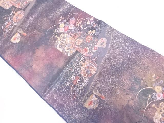 陶漆箔薫香絵文様織出し袋帯【リサイクル】【中古】