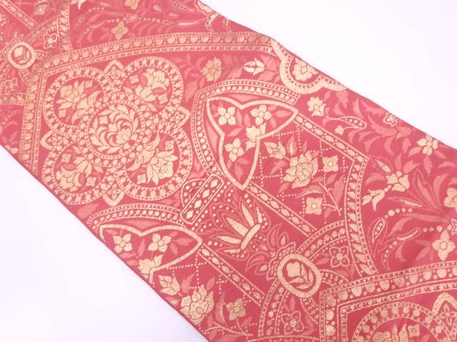 川島織物製 草花模様織出し袋帯【リサイクル】【中古】