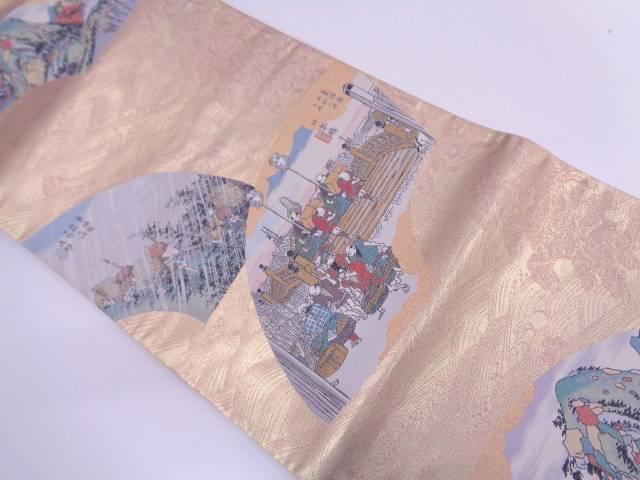 地紙に東海道五十三次模様織出し袋帯【リサイクル】【中古】