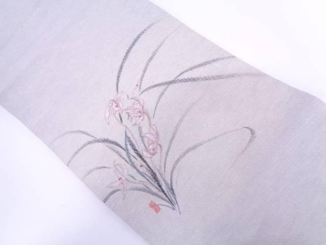 作家物 上代紬手描き草花模様名古屋帯【リサイクル】【中古】