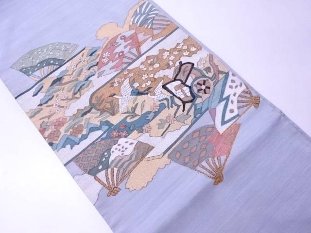 フォーマル用袋帯 紬織 御所車に飛鶴文様【リサイクル】【中古】