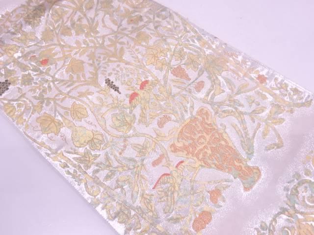 本漆箔金花鳥に葡萄模様織出し袋帯【リサイクル】【中古】