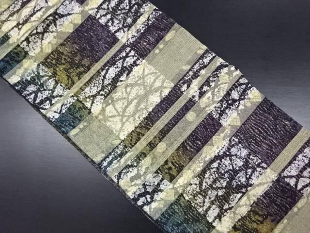 未使用品 金糸横段に芝草・菱・水玉模様織り出し袋帯【リサイクル】【中古】