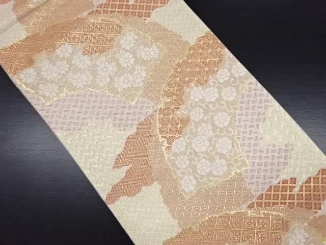 金糸 破れ色紙に牡丹唐草・菊模様織り出し袋帯【リサイクル】【中古】
