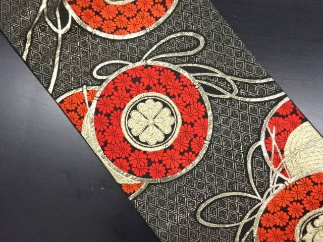 鼓に菊尽くし模様織り出し袋帯【リサイクル】【中古】