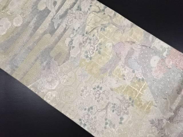 佐賀錦 孔雀に牡丹・菊模様織り出し袋帯【リサイクル】【中古】
