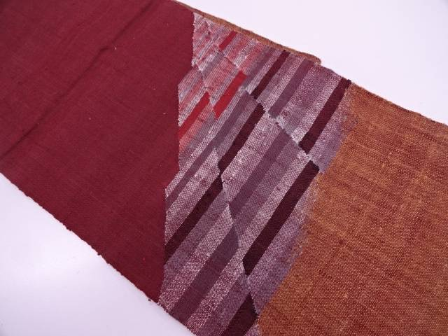 手織り真綿紬抽象模様織出し開き名古屋帯【リサイクル】【中古】