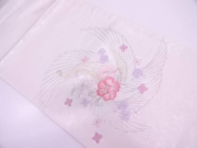 未使用品 鳥に花模様刺繍袋帯【リサイクル】【中古】