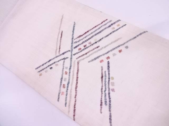 未使用品 紗紬抽象模様織出し名古屋帯【リサイクル】【中古】
