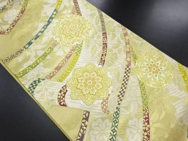 河辺工芸製 本金御簾に華紋織り出し全通袋帯【リサイクル】【中古】