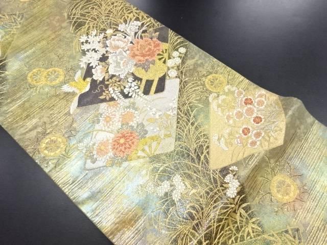 引き箔重ね色紙に鳥花車模様織り出し袋帯【リサイクル】【中古】