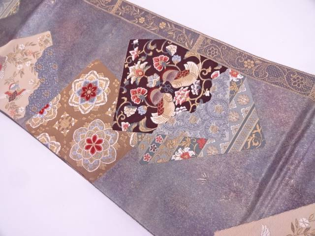 引箔重ね色紙に向かい鳥・華紋模様織出し袋帯【リサイクル】【中古】