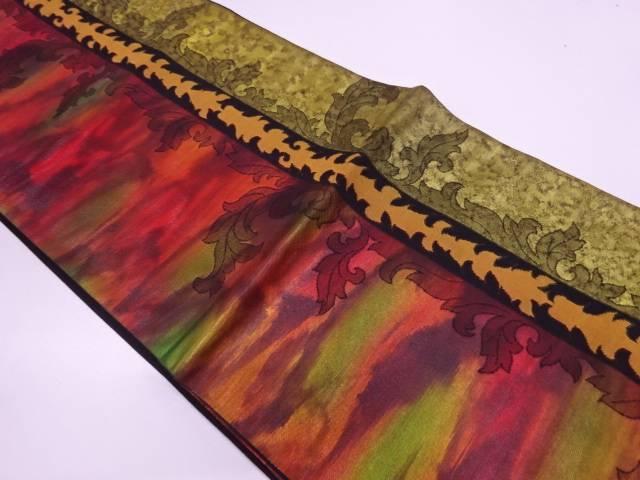 葉模様織出し袋帯【リサイクル】【中古】