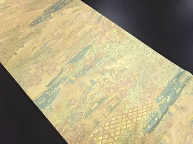未使用品 やまひで製 本金箔金閣寺模様織り出し袋帯(未仕立て)【リサイクル】【中古】