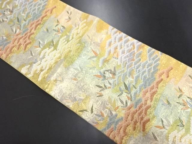 本金松に流水・草葉模様織り出し袋帯【リサイクル】【中古】