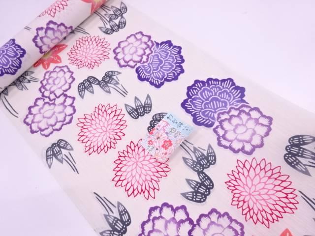 紅型調花に笹模様綿麻浴衣地反物(日本製)(1200センチ)【新品】