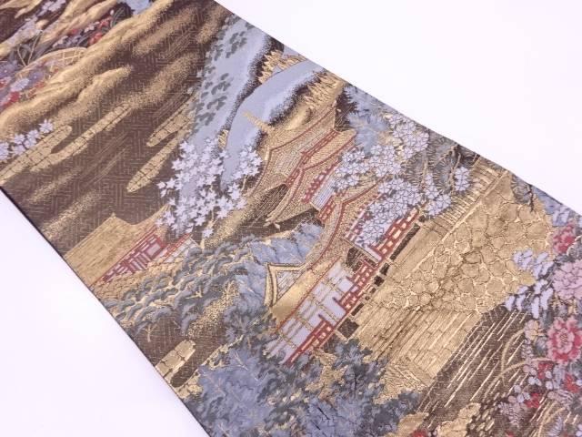 奈良興福寺模様織出し袋帯【リサイクル】【中古】