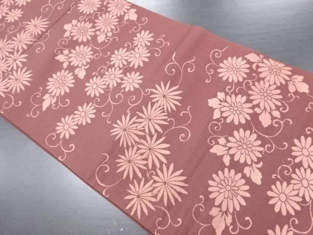 花唐草模様織り出し洒落袋帯【リサイクル】【中古】