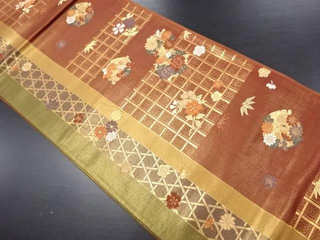 本金格子に花丸文様織り出し袋帯【リサイクル】【中古】