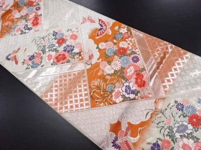 檜垣に草花鶴蝶模様織り出し袋帯【リサイクル】【中古】