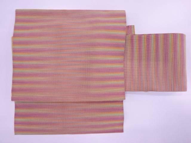 綴れ横段模様織出し作り帯【リサイクル】【中古】