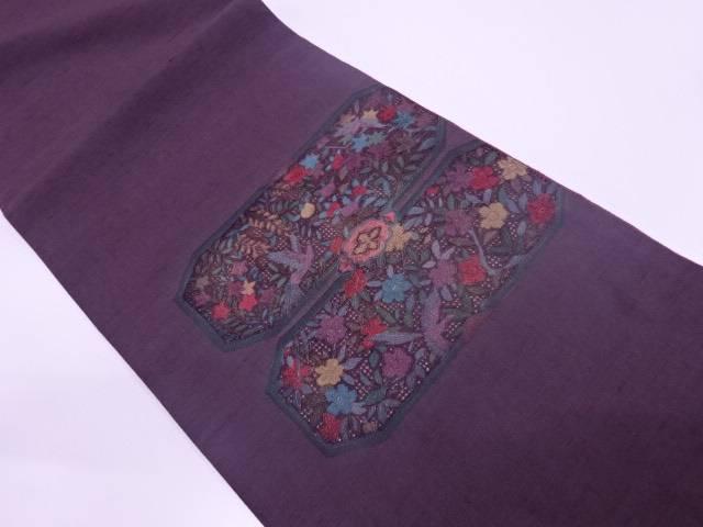 手織真綿紬汕頭相良刺繍花鳥模様袋帯【リサイクル】【中古】