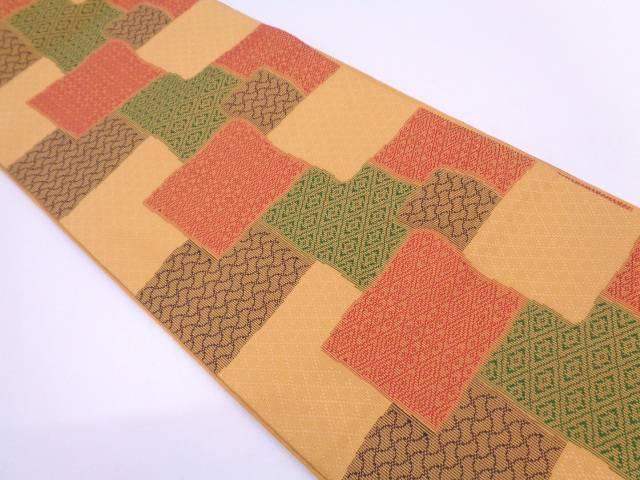 色紙に古典柄模様織出し全通袋帯【リサイクル】【中古】