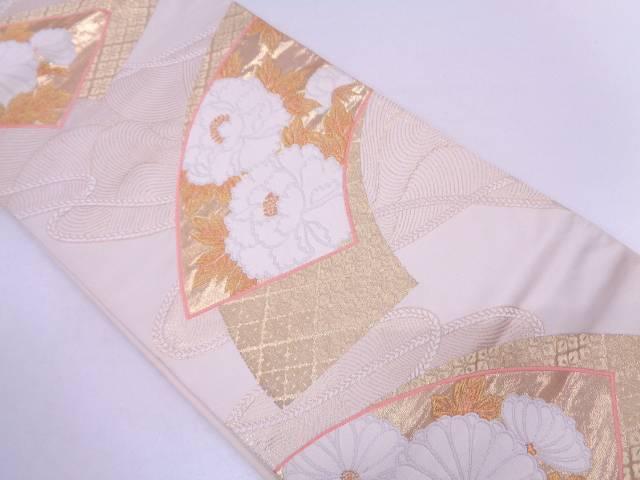 地紙に牡丹・菊模様織出し袋帯【リサイクル】【中古】
