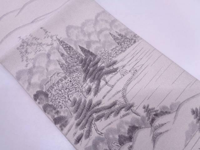 綴れ庭園模様織出し袋帯【リサイクル】【中古】