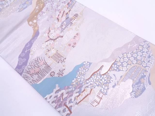 家屋風景模様織出し袋帯【リサイクル】【中古】