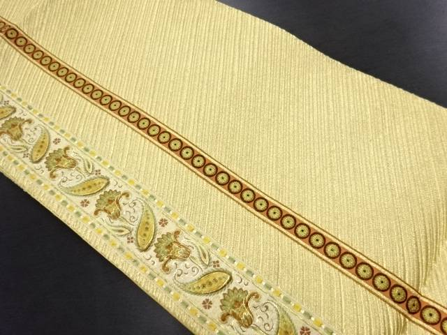 金糸縞に唐花模様刺繍袋帯【リサイクル】【中古】