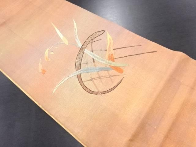 手織り紬草葉模様刺繍袋帯【リサイクル】【中古】