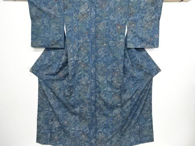 唐花模様手織り真綿紬着物【リサイクル】【中古】