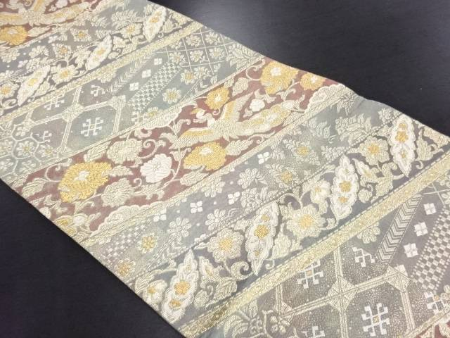 金糸横段に花鳥模様織り出し袋帯【リサイクル】【中古】